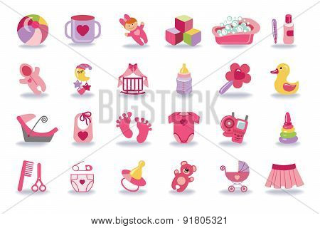 Newborn Baby girl icons set.Baby shower kit