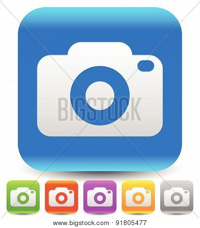 Simple Photography Icons With Camera Symbol.
