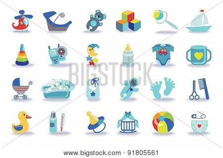 Newborn Baby boy icons set.Baby shower kit