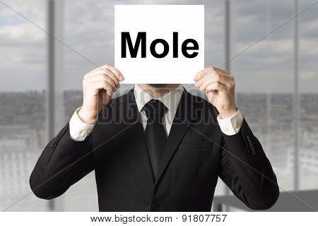 Businessman Hiding Face Behind Sign Mole