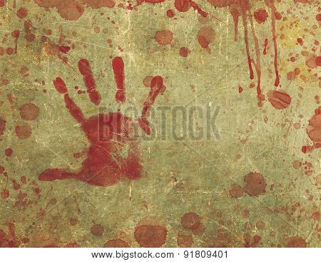 Bloody Hand Print Blood Splattered And Stained Background