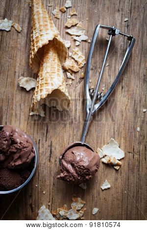 Chocolate ice cream on wooden background