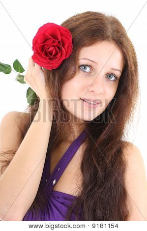 Portrait Of Girl With Red Flower