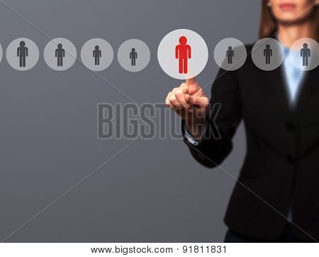 Businesswomen Hand select New Employee from Electronic interface