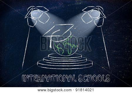 International Schools: World With Graduation Cap Under Spotlights