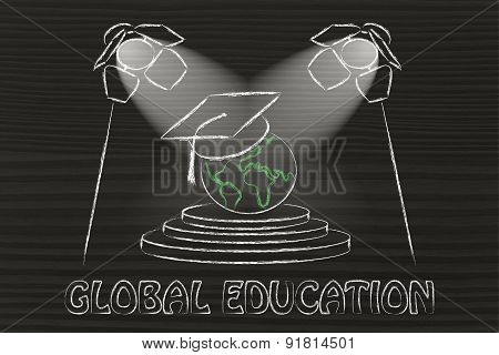 Global Education: World With Graduation Cap Under Spotlights