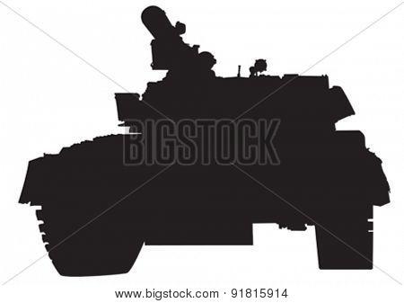 Big military tank on white background