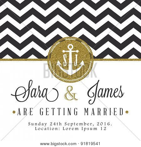 Modern card, for invitation or announcement with golden details. Dark blue zig zag lines