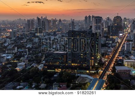 Twilight on Bangkok city, view of the Thong Lor district