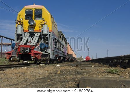 Steam locomotive on siding.
