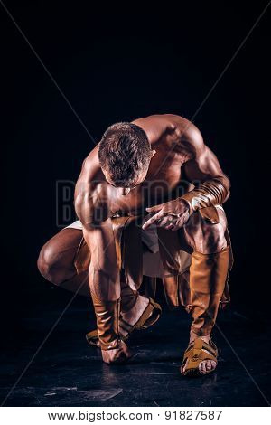 Rome warrior on the black background