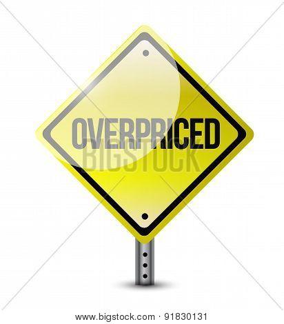 Overpriced Warning Sign Concept Illustration