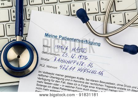 a living will in german. instructions for the doctor or the hospital in the event of terminal illness.