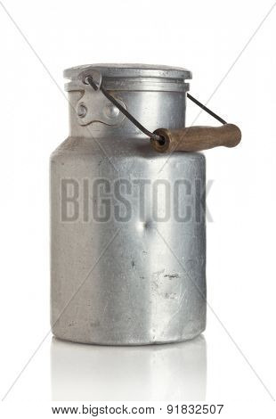 Vintage scratched milk churn isolated on white background
