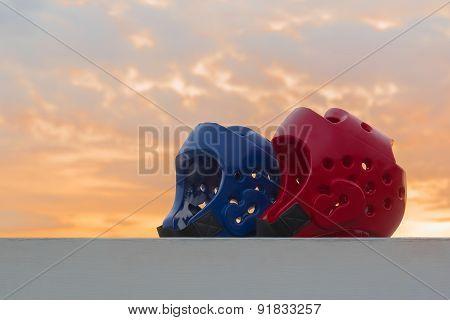 Red and Blue Taekwondo head guard
