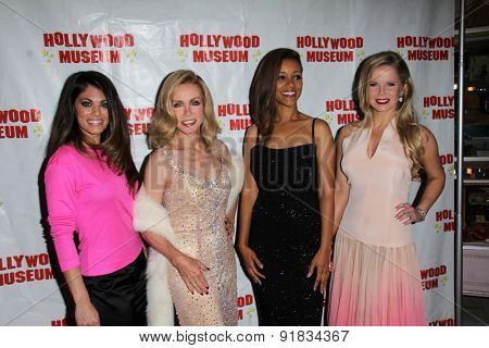 LOS ANGELES - MAY 27:  Lindsay Hartley, Donna Mills, Chrystee Pharris, Crystal Hunt at the Missing Marilyn Monroe Images Unveiled at the Hollywood Museum  on May 27, 2015 in Los Angeles, CA