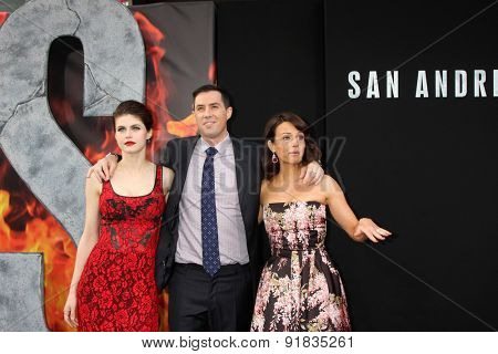 LOS ANGELES - MAY 26:  Alexandra Daddario, Brad Peyton, Carla Gugino at the