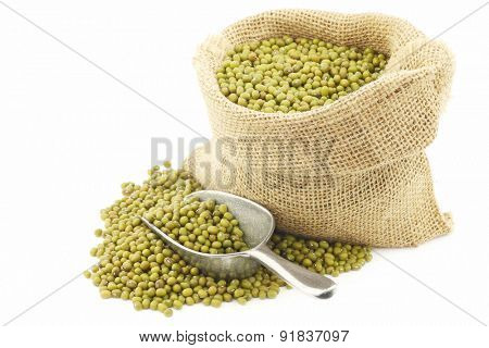 Mungo beans (Vigna radiata) in a burlap bag on a white background