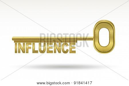 influence - golden key isolated on white background poster