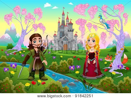 Medieval couple in a landscape with castle. Cartoon vector illustration