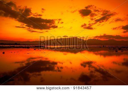 Sunset In Kwan Phayao, Phayao, Thailand.