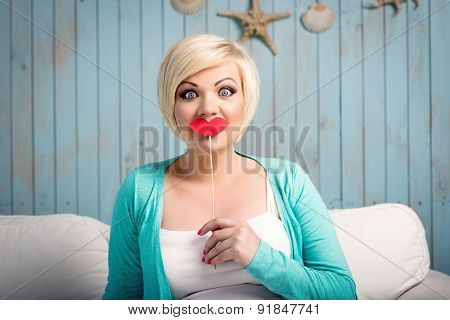 Young woman with false lips