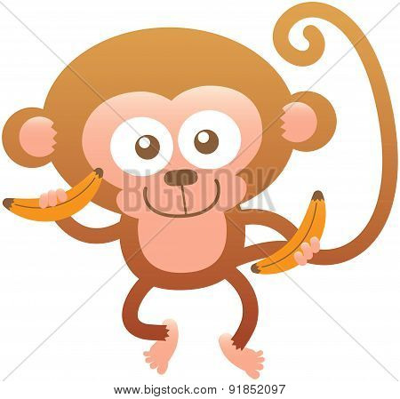 Cute friendly monkey smiling and holding bananas