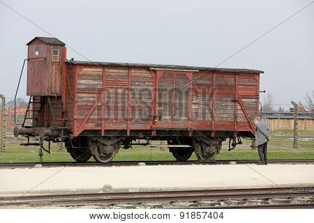 OSWIECIM, POLAND - APRIL 16 2015: Deportation wagon at Auschwitz Birkenau at Auschwitz Birkenau concentration camp Poland