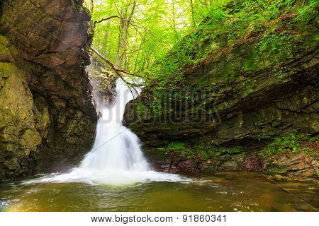 "Beautiful small waterfall In Balkan Mountains Bulgaria. The ""White water"" waterfall. poster"