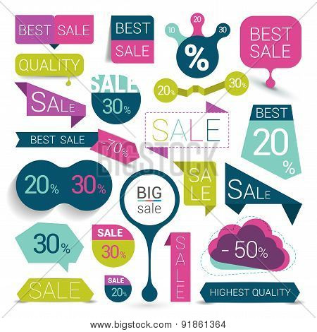 Set Of Colorful Sale Stickers.
