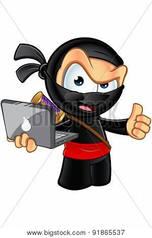 An illustration of a sneaky looking cartoon Ninja character. poster