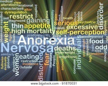 Background concept wordcloud illustration of anorexia nervosa glowing light