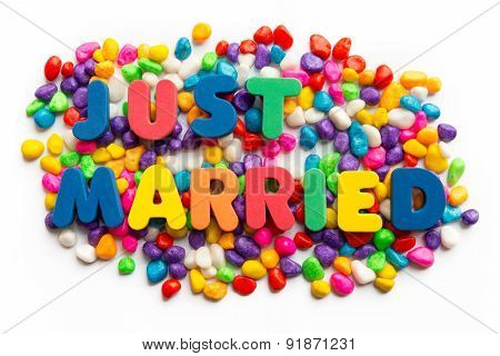 Just Married Word In Colorful Stone