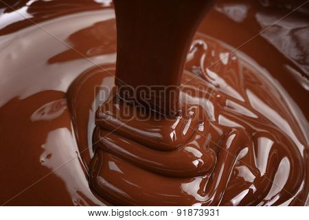 melted dark chocolate thick flow