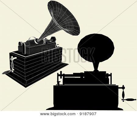 Antique Edison Gramophone Vec...