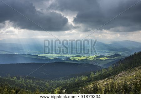 Amazing Mountains Landscape With Dramatic Clouds And Sun Rays