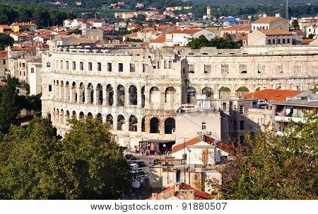 Ancient Walls Of Roman Amphitheater Colosseum In Pula