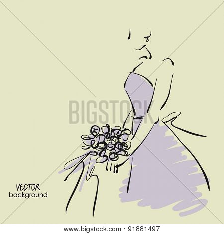art sketch #12 of beautiful young  bride in dress lilac with the bride's bouquet. Vector background with space for text.