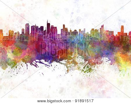Makati Skyline In Watercolor Background