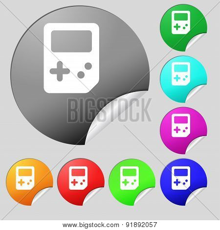 Tetris Icon Sign. Set Of Eight Multi-colored Round Buttons, Stickers. Vector