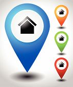 Map pins map markers with house symbol vector. poster