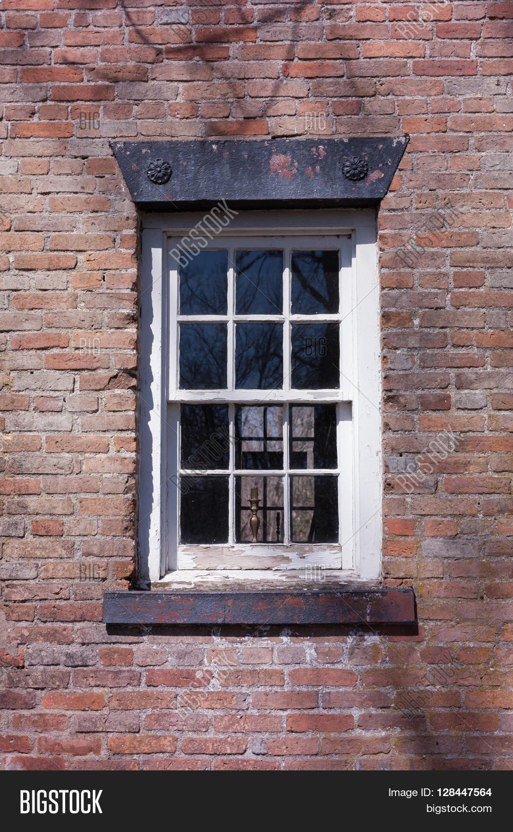 Old Window On Brick House