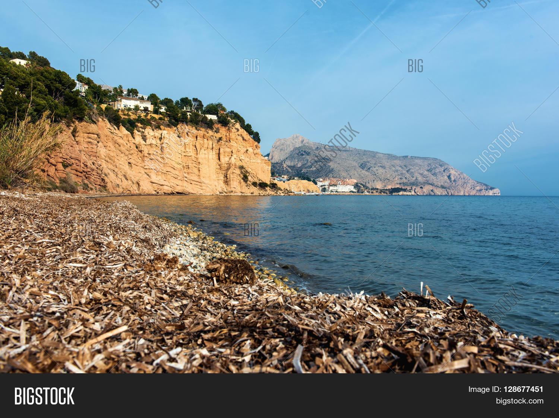 Solsida nudist beach near town of Altea. Costa Blanca. Spain