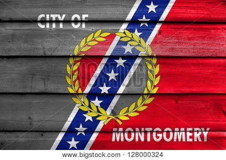 Flag Of Montgomery, Alabama, Painted On Old Wood Plank Background