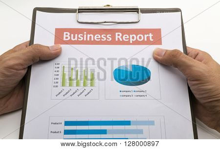 business report and man hand. Accounting, account, accountancy,