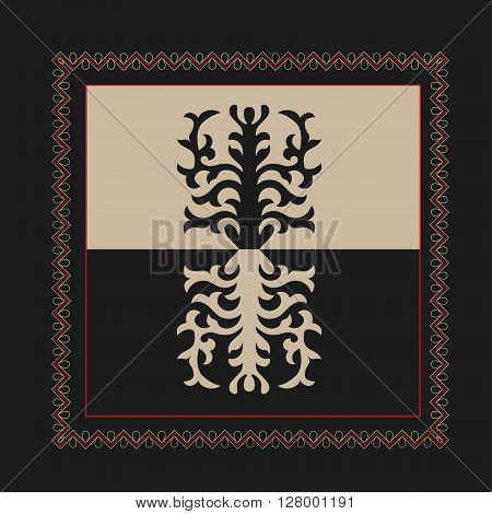 Asian ornaments collection. Historically ornamental of nomadic people. It based on real Kazakh art of felt and wool carpet. Mirror-symmetric illustrations. Region Of Shymkent poster