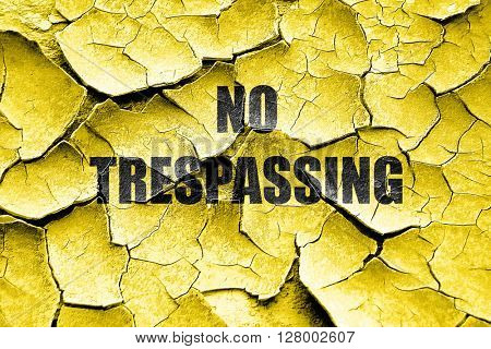 Grunge cracked No trespassing sign