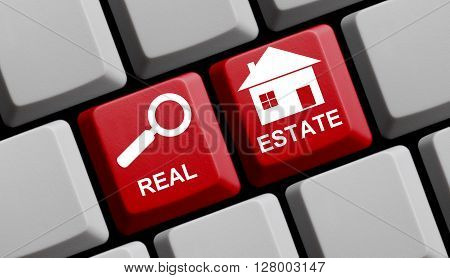 Computer Keyboard with symbols is showing Real Estate