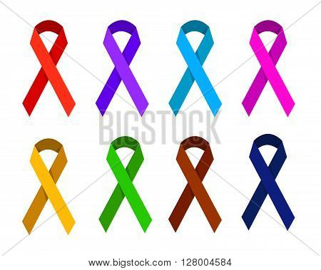 ribbon in different colors symbolizing victims of homophobia, gynecologic cancer, Creutzfeldt-Jakb Disease, Cancer Survivor, domestic violence, migraine, Spirit Day, drug overdose, aids day