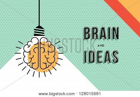 Brain And Ideas Concept In Modern Line Art Design